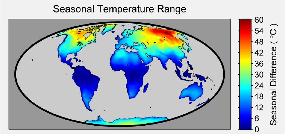 Figure 1. Using the Berkeley Earth Surface Air Temperature (SAT) dataset the seasonal temperature range was calculated over the entire land surface of the globe. For the purposes of this map the seasonal range was defined as the difference between the warmest month and the coolest month. The difference ranges from a low of 0 degrees C in equatorial regions to a high of 60 degrees C in northeastern Russia. While not as dramatic as the ranges found in Siberia, the seasonal range in northern Canada is also large. Other features, such as the muted seasonal range along coastlines, in particular the western North American coast, are visible.