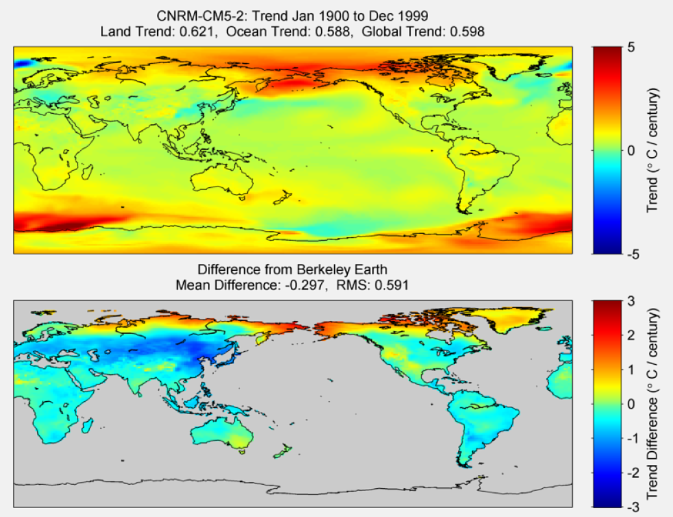 Figure 25. The above graphic illustrates the 100 year trend from 1900 to 1999 for the historical reconstruction produced as part of the Coupled Model Intercomparson project --Phase 5 or CMIP 5. Results for CNRM-CM5-2 model is shown in the upper panel and the difference with Berkeley Earth Land Temperature is shown in the lower panel. CNRM-CM5-2 is a product of CCentre National de Recherches Météorologiques / Centre Européen de Recherche et Formation Avancée en Calcul Scientifique. The lower panel depicts the difference in trends between CNRM-CM5-2 and Berkeley Earth Land Temperatures. The Root Mean Square is calculated at the grid level.