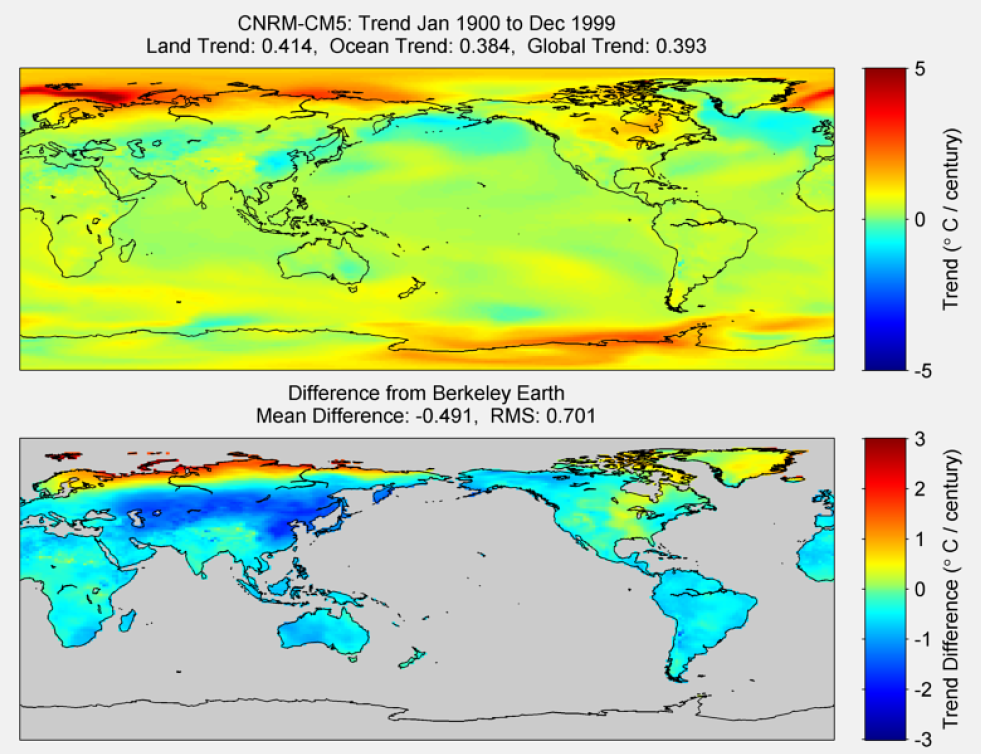 Figure 26. The above graphic illustrates the 100 year trend from 1900 to 1999 for the historical reconstruction produced as part of the Coupled Model Intercomparson project --Phase 5 or CMIP 5. Results for CNRM-CM5 model is shown in the upper panel and the difference with Berkeley Earth Land Temperature is shown in the lower panel. CNRM-CM5 is a product of CCentre National de Recherches Météorologiques / Centre Européen de Recherche et Formation Avancée en Calcul Scientifique. The lower panel depicts the difference in trends between CNRM-CM5 and Berkeley Earth Land Temperatures. The Root Mean Square is calculated at the grid level.