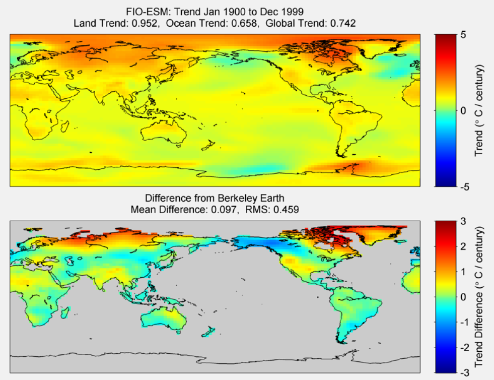 Figure 29. The above graphic illustrates the 100 year trend from 1900 to 1999 for the historical reconstruction produced as part of the Coupled Model Intercomparson project --Phase 5 or CMIP 5. Results for FIO-ESM model is shown in the upper panel and the difference with Berkeley Earth Land Temperature is shown in the lower panel. FIO-ESM is a product of The First Institute of Oceanography, SOA, China. The lower panel depicts the difference in trends between FIO-ESM and Berkeley Earth Land Temperatures. The Root Mean Square is calculated at the grid level.