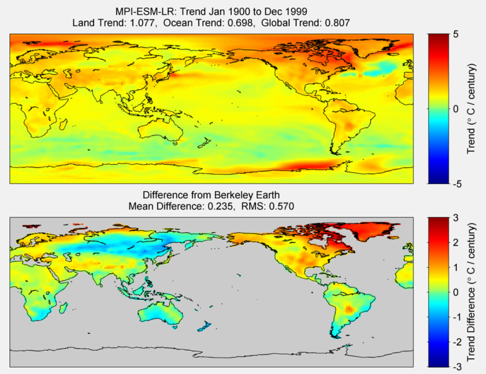 Figure 45. The above graphic illustrates the 100 year trend from 1900 to 1999 for the historical reconstruction produced as part of the Coupled Model Intercomparson project --Phase 5 or CMIP 5. Results for MPI-ESM-LR model is shown in the upper panel and the difference with Berkeley Earth Land Temperature is shown in the lower panel. MPI-ESM-LR is a product of the Max-Planck-Institut für Meteorologie (Max Planck Institute for Meteorology). The lower panel depicts the difference in trends between MPI-ESM-LR and Berkeley Earth Land Temperatures. The Root Mean Square is calculated at the grid level.