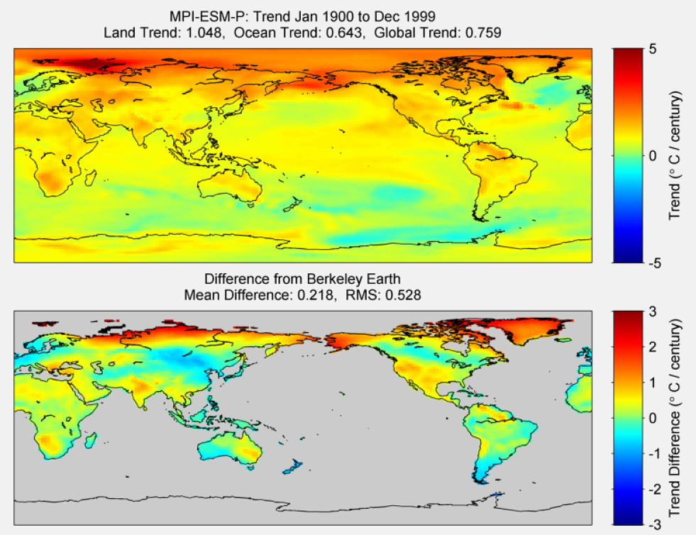 Figure 47. The above graphic illustrates the 100 year trend from 1900 to 1999 for the historical reconstruction produced as part of the Coupled Model Intercomparson project --Phase 5 or CMIP 5. Results for MPI-ESM-P model is shown in the upper panel and the difference with Berkeley Earth Land Temperature is shown in the lower panel. MPI-ESM-P is a product of the Max-Planck-Institut für Meteorologie (Max Planck Institute for Meteorology). The lower panel depicts the difference in trends between MPI-ESM-P and Berkeley Earth Land Temperatures. The Root Mean Square is calculated at the grid level.