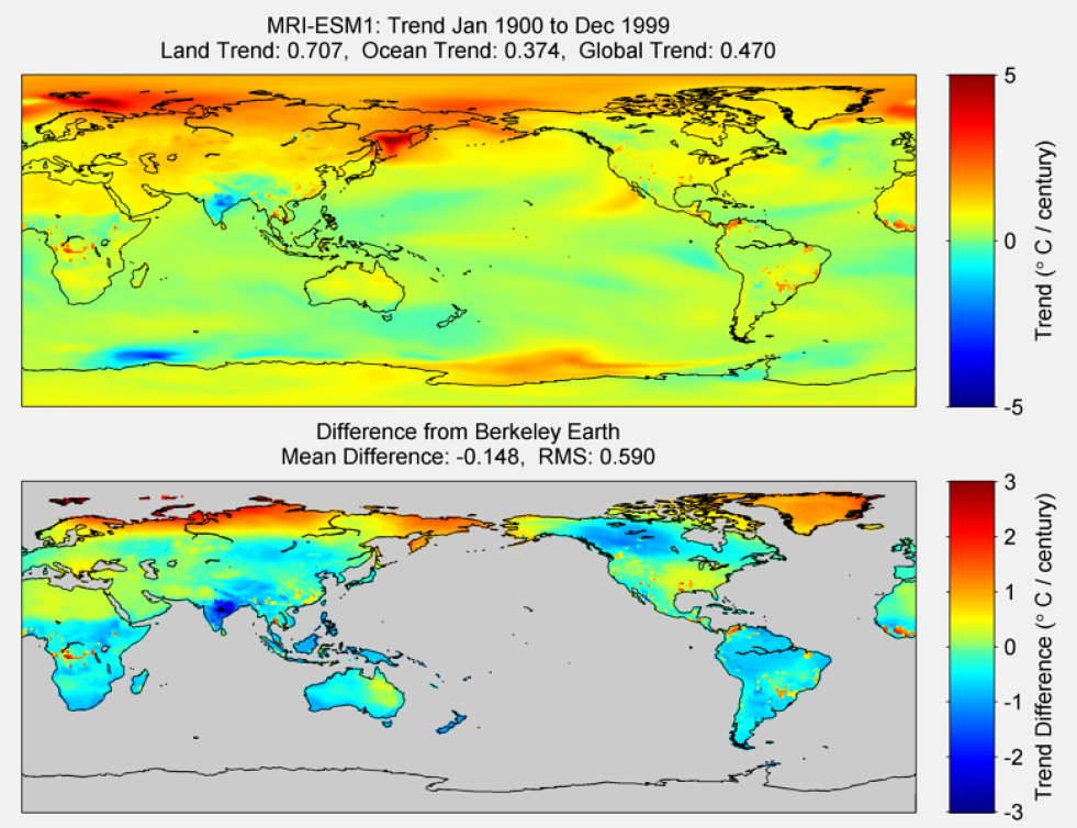 Figure 49. The above graphic illustrates the 100 year trend from 1900 to 1999 for the historical reconstruction produced as part of the Coupled Model Intercomparson project --Phase 5 or CMIP 5. Results for MRI-ESM1 model is shown in the upper panel and the difference with Berkeley Earth Land Temperature is shown in the lower panel. MRI-ESM1 is a product of the Meteorological Research Institute. The lower panel depicts the difference in trends between MRI-ESM1 and Berkeley Earth Land Temperatures. The Root Mean Square is calculated at the grid level.