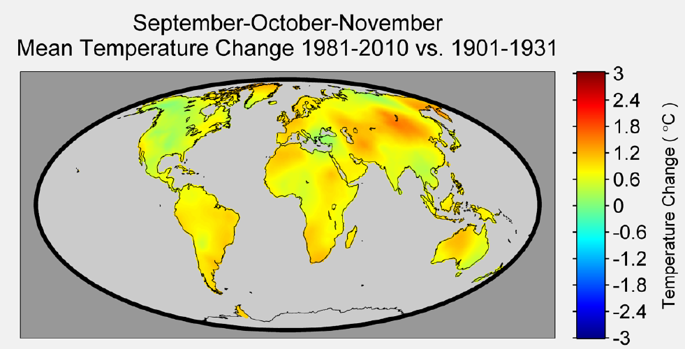 Figure 6. The change in temperature during September-October-November is not as uniform as the northern hemisphere summer months; and while North America sees very little temperature change during this season, parts of Russia and China appear to see greater changes in temperature during these months.