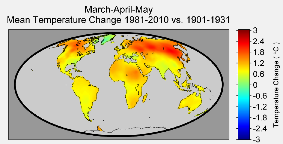 Figure 4. The change in temperature during March-April-May, like that in Dec.-Jan.-Feb., is not uniform across the globe. With the exception of Greenland, which sees nearly no change in temperature over the period, the changes in the northern latitudes outpace the changes at lower latitudes.