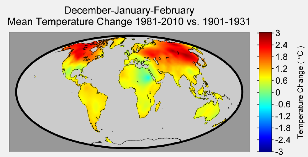 Figure 3. This figure illustrates the change in temperature over the past 80 years during December-January-February (the Northern Hemisphere winter season). Warming during this season is not uniform across the globe, with maximum values occurring in the northern latitudes.