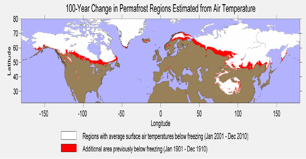 Figure 7. Permafrost, or cryotic soil, is defined as soil that is at or below 0C for 2 or more years. In the above figure we use the air temperature estimated by the Berkeley Earth averaging method to create an estimate of permafrost extent and its retreat over the last hundred years. While factors other than air temperature do play a role in the formation of permafrost (such as the slope and aspect of the terrain), the average annual air temperature does provide a good estimate of where permafrost has formed. Regions where the annual air temperature averaged 0C or below for the 1901-1910 time period are colored in red, while those areas that were 0C or lower during the 2001-2010 period are colored in white.