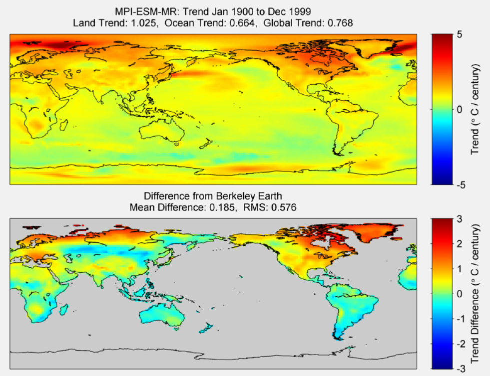 Figure 46. The above graphic illustrates the 100-year trend from 1900 to 1999 for the historical reconstruction produced as part of the Coupled Model Intercomparson project --Phase 5 or CMIP 5. Results for the MPI-ESM-MR model are shown in the upper panel, and the difference with Berkeley Earth land temperatures is shown in the lower panel. MPI-ESM-MR is a product of the Max-Planck-Institut für Meteorologie (Max Planck Institute for Meteorology). The lower panel depicts the difference in trends between MPI-ESM-MR and Berkeley Earth land temperatures. The Root Mean Square (RSM) is calculated at the grid level.
