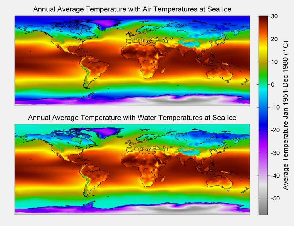 Annual Average Global Temperatures. Both panels are calculated using a 1951-80 periodand represent the average Global Temperature index in degrees C. At the poles where ice cover variesover the record we provide two cases. For the baseline case the air temperature over iceis used for the average and in the alternative case in the bottom panel Sea Temperature under the ice cover is used. -1.8 C is used for this value in all cases