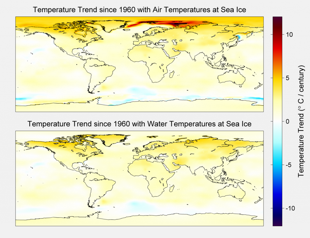 Temperature trends for the baseline case and the alternative case