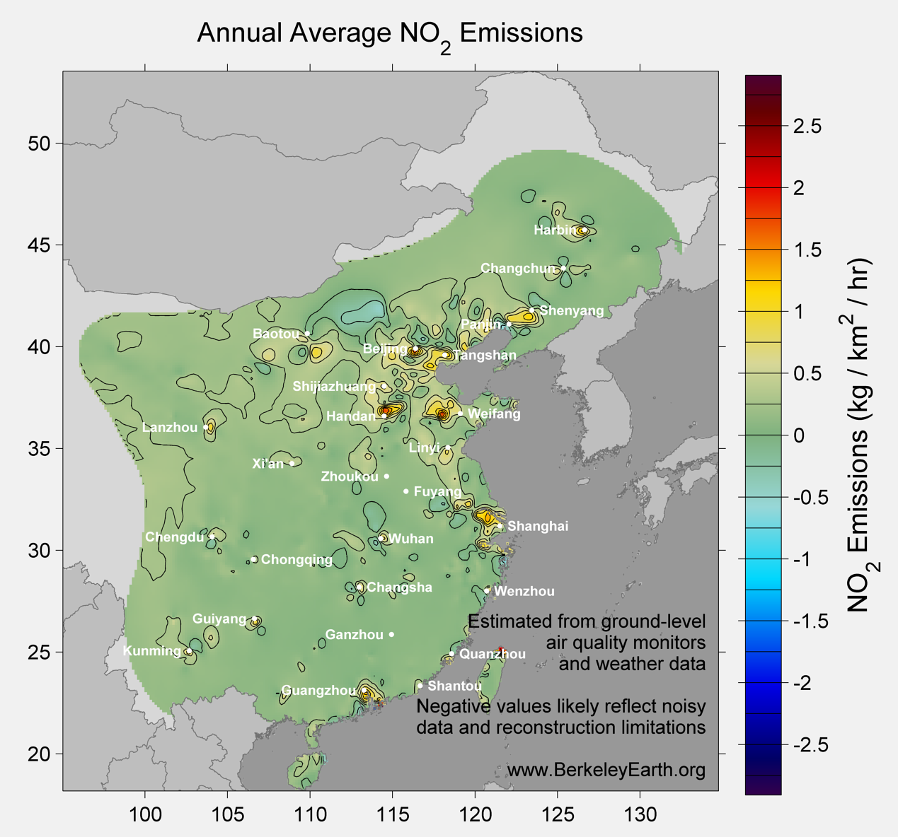 China_no2_Average_Emission_Map