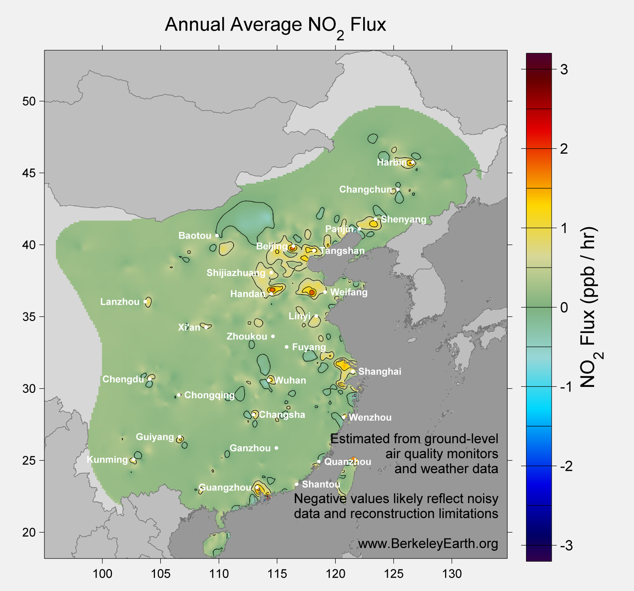 China_no2_Average_Flux_Map