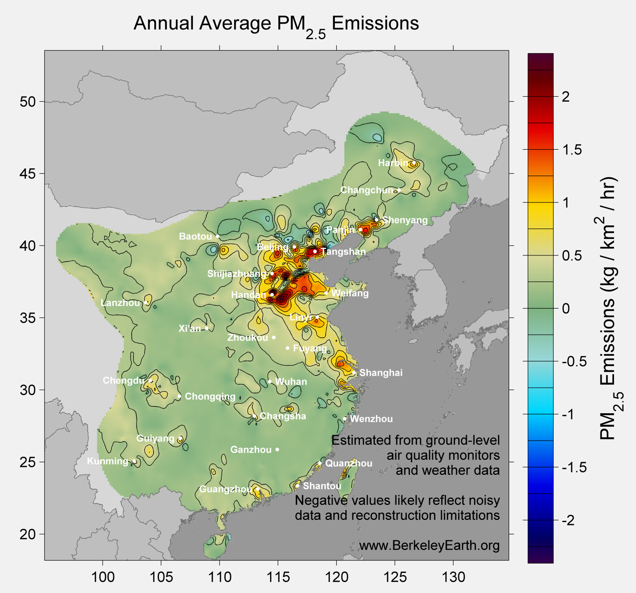 China_pm25_Average_Emission_Map