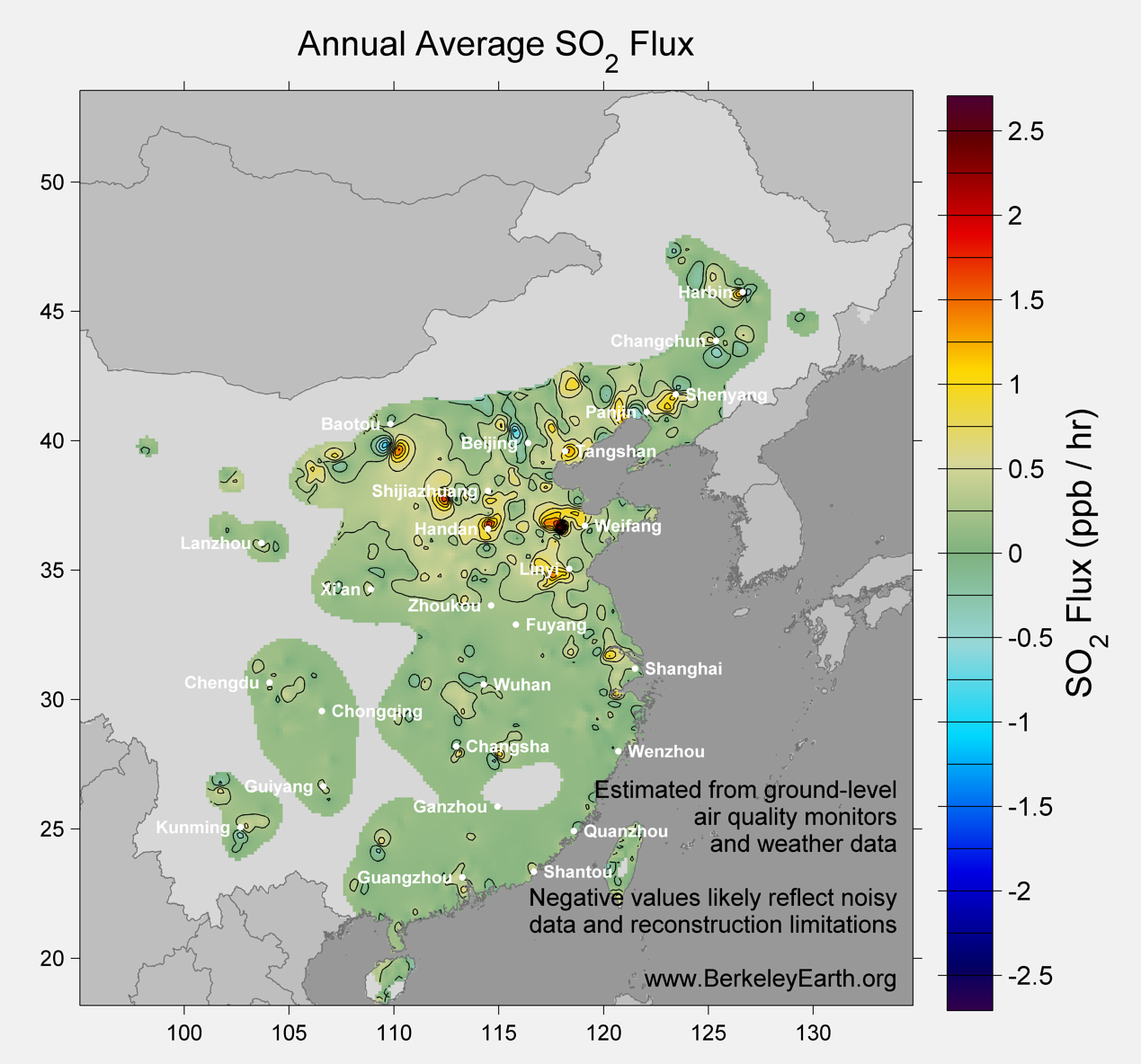 China_so2_Average_Flux_Map