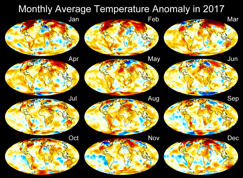 2017 Monthly Temperature Anomaly Maps