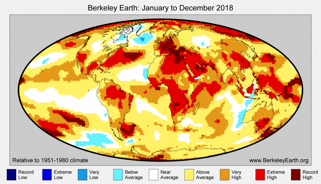 Temperature anomaly indicator map