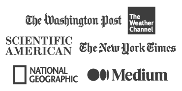 Logos: The Washington Post, The Weather Channel, Scientific, America, The New York Times, National Geographic, Medium
