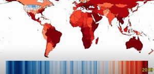 World map displaying increasing surface temperatures over time